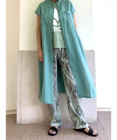 [GEY GRY]スタンドカラーリネンワンピース【グリーン】