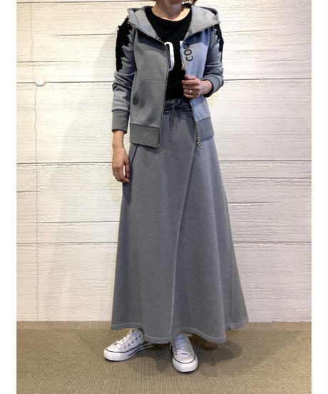 [COOLA]ステッチパターンロングスカート【グレー】