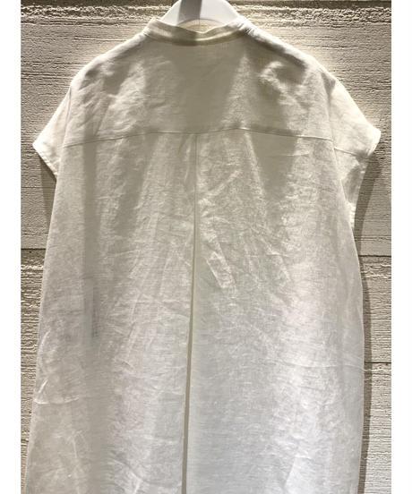 [GEY GRY]リネンノーカラーシャツワンピース【ホワイト】