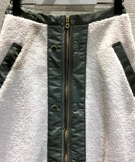 ◆NEW◆[IN-PROCESS  Tokyo]ボアライナープリーツスカート【アイボリー×グレー】