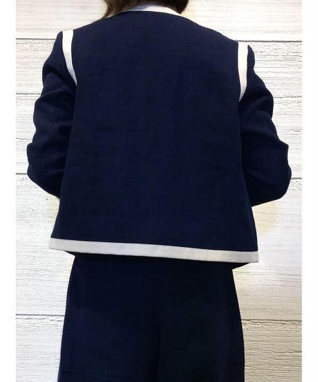 [BEATING HEART]リネンノーカラージャケット【ネイビー】