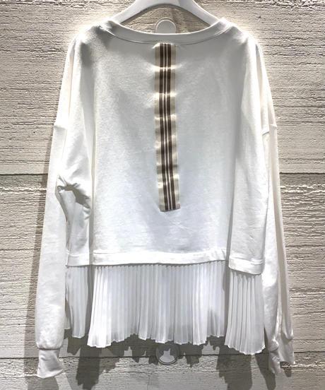◆NEW◆切り替えプリーツカットソー【ホワイト】