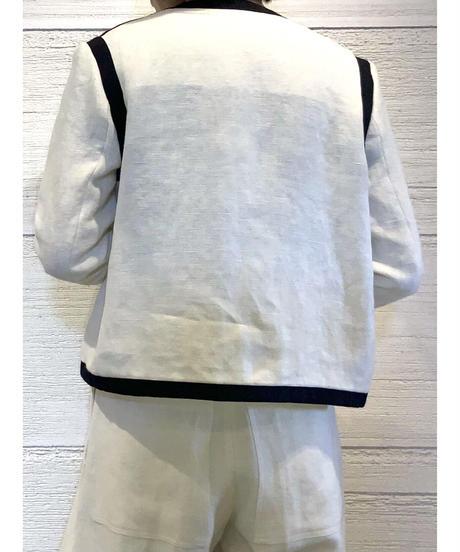 [BEATING HEART]リネンノーカラージャケット【ホワイト】