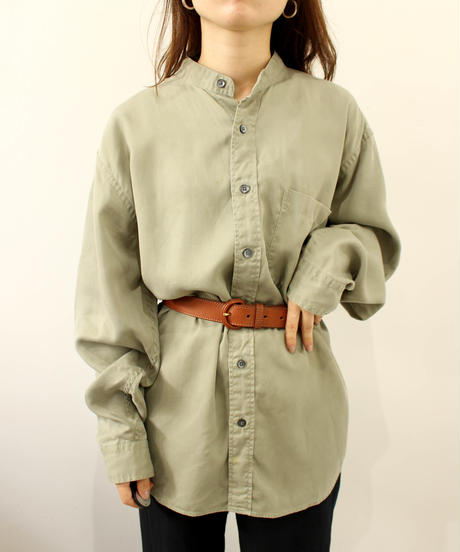 mint green bandcollar  shirt