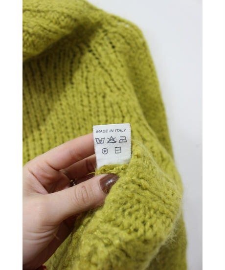 made in ITALY lime green turtleneck sweater