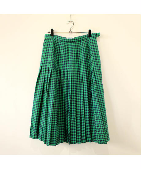 green gingham check  skirt