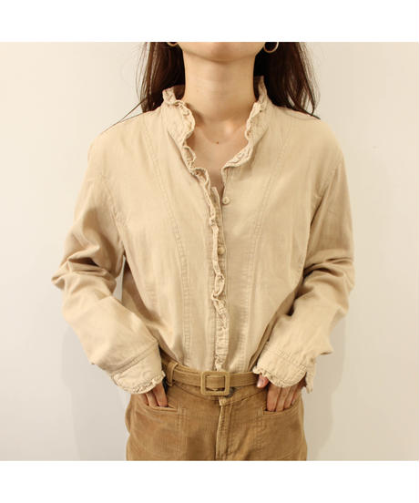 frill beige blouse