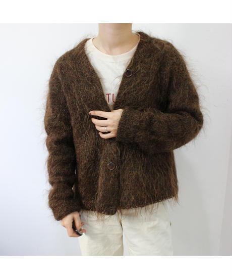 brown shaggy cardigan