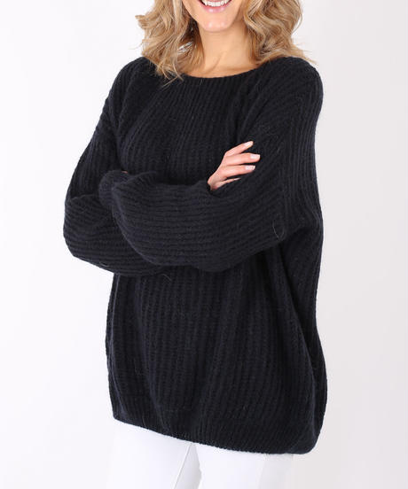 コクーンシルエットモヘアセーター/Black