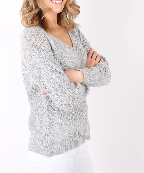 AVネック穴あきセーター/Light grey