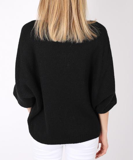 AVネックウールmixedセーター/Black