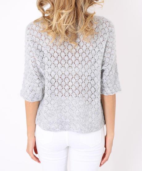 ハニカムデザインセーター/Light grey