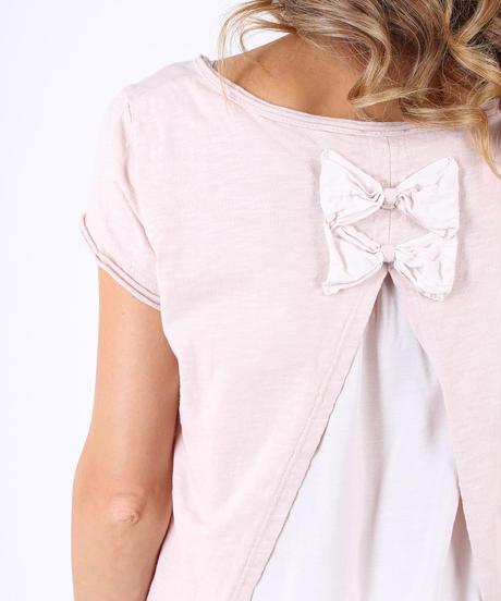 ダブルバックリボン Tシャツ / Pink