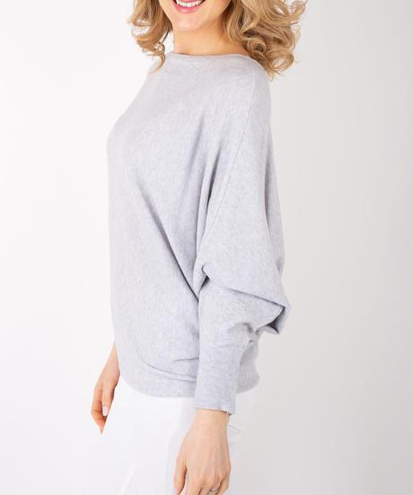 スムースドルマンスリーブセーター/Grey