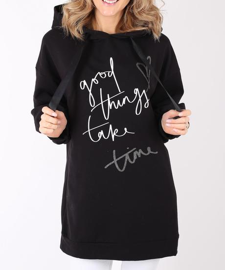 ロングスウェットパーカー with Good Things Take Time/Black
