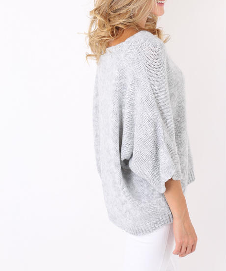 AVネックウールmixedセーター/Light grey