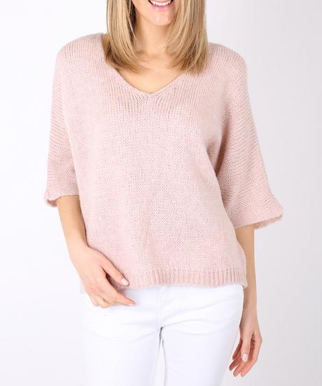 AVネックウールmixedセーター/Pink