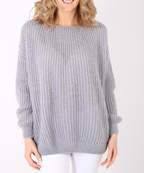 コクーンシルエットモヘアセーター/Light grey