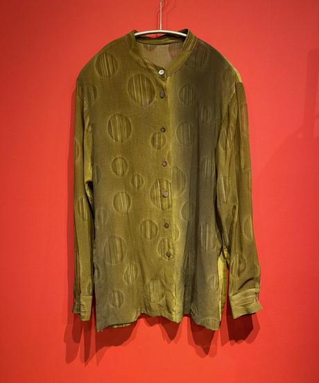 see-through shirt (mustard)