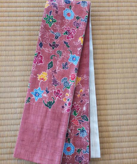 半巾帯 (麻地) 更紗