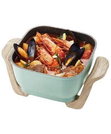 【Toffy/トフィー】 コンパクトマルチ電気鍋 K-HP3 1台6役 鍋 ヒーター一体型 煮る 焼く 蒸す 炒める 揚げる 炊く コンパクト 約2.8L ガラス蓋 レトロ かわいい