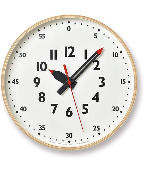 レムノス 掛け時計 ふんぷんクロック Mサイズ アナログ 木枠 天然色木地 YD14-08 M キッズ 知育 Lemnos ホワイト 白 サイズ:直径30.5×奥行4.8cm