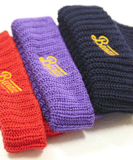 LOGO SHORT BEANIE [PURPLE x GOLDYELLOW]