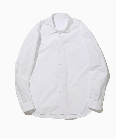 NOEL WIDE REGULAR COLLAR SHIRTS-WHITE- モデル着用Mサイズ(身長178cm)