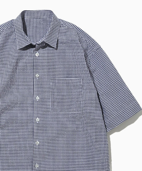 JEAN SHORT SLEEVE WIDE  SHIRTS-GINGHAM-