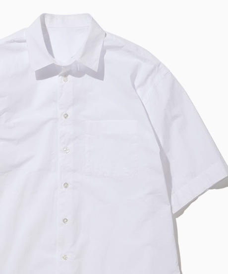 JEAN SHORT SLEEVE WIDE SHIRTS-WHITE-