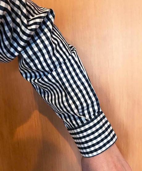 PETER WIDE REGULAR COLLAR SHIRTS-GINGHAM- モデル着用Mサイズ(身長181cm)