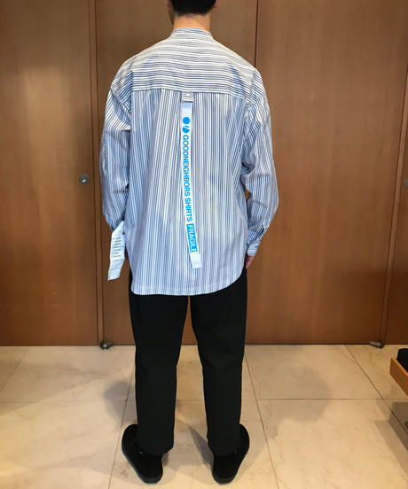 BAUSKIA WIDE BAND COLLAR SHIRTS-ICE- モデル着用Lサイズ(身長178cm)