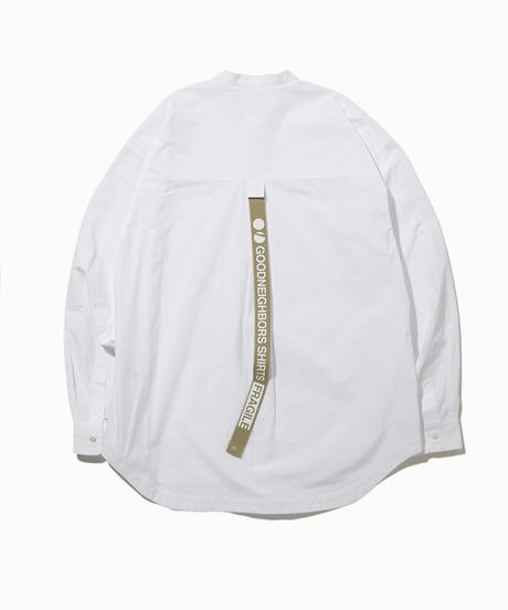 BAUSKIA WIDE BAND COLLAR SHIRTS-WHITE- モデル着用Lサイズ(身長178cm)
