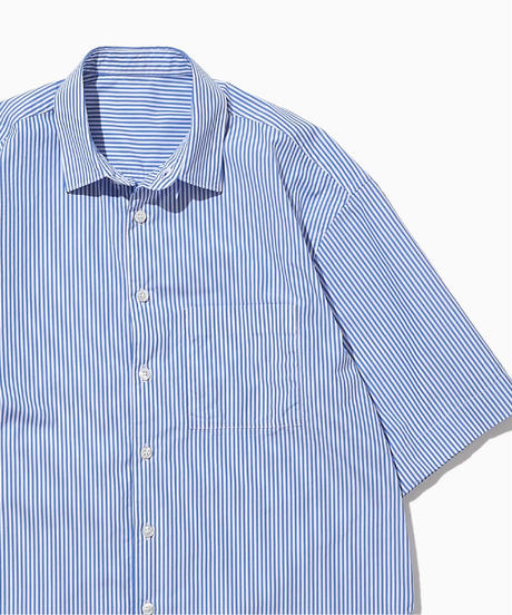 JEAN SHORT SLEEVE WIDE  SHIRTS-BLUE-