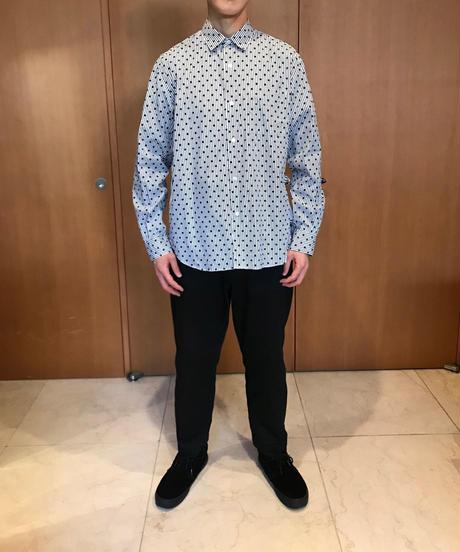 JOHN REGULAR COLLAR SHIRTS-DOT- モデル着用XLサイズ(身長178cm)