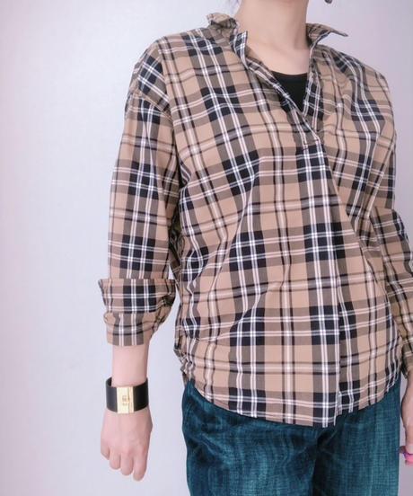 【再入荷】ワイヤー襟 スキッパーチェックシャツ
