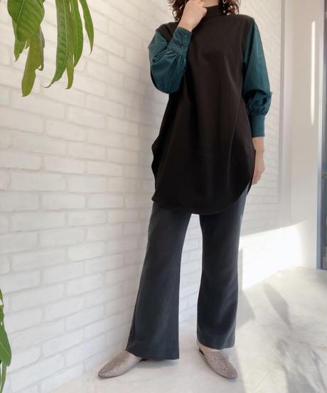 シャツ袖ドッキングチュニック