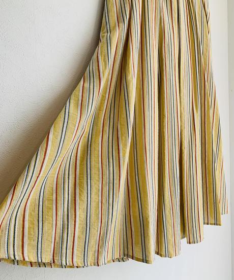 綿麻マルチストライプlongスカート