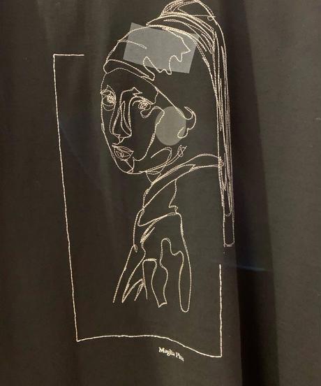 絵画柄刺繍Tシャツ(真珠の耳飾りの少女)