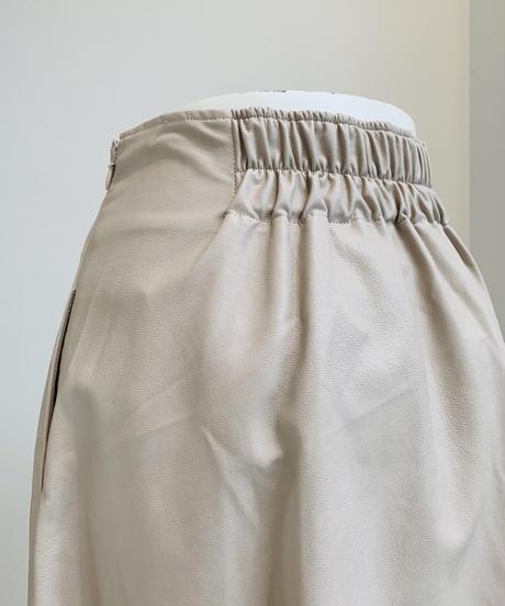 【大人気再入荷】ミモレ丈エコレザースカート