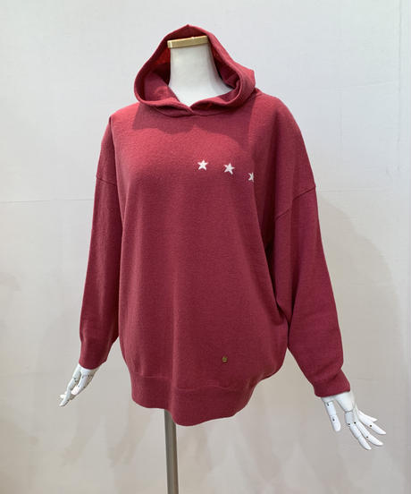 星柄インターシャ・フーデットニット