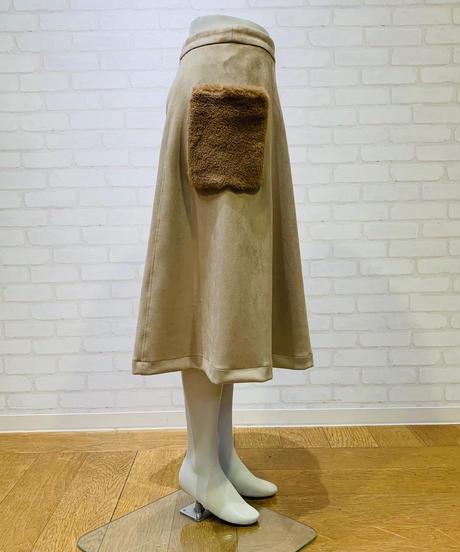 エコファーポケット Aラインフェイクスウェードスカート