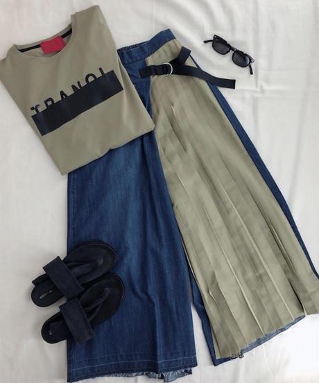 スカート見え 片側プリーツ&デニムパンツ