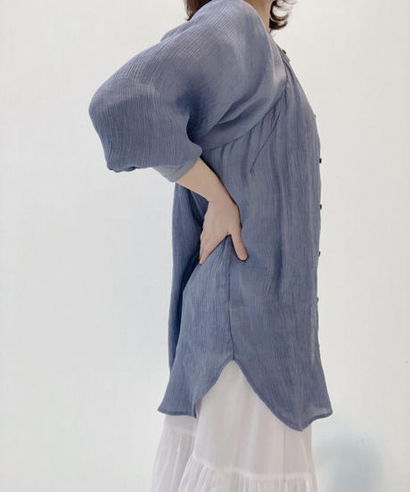 バンドカラー袖リブシャツ(楊柳)