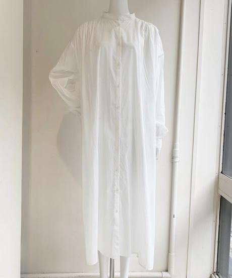 【完売追加お取り寄せ可能】綿ローン肩ギャザーlongシャツワンピース