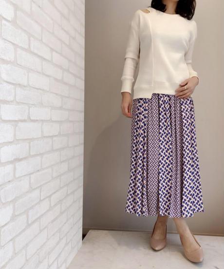 配色柄プリーツスカート