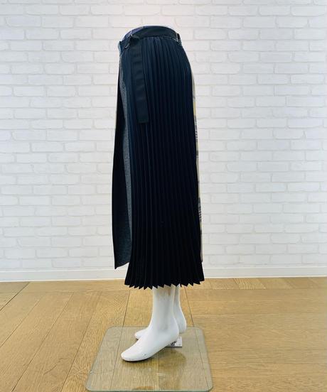 チェック&プリーツ・フラノ切り替え巻き風スカート