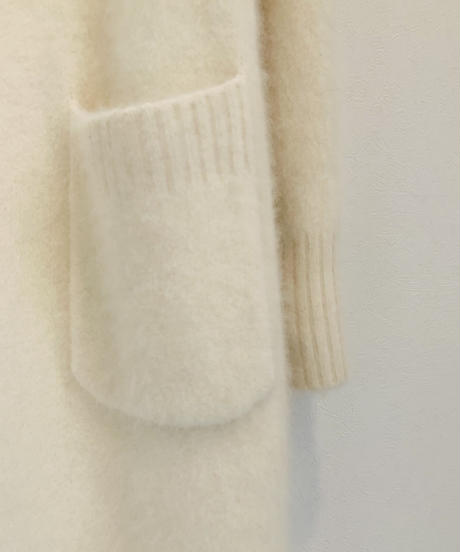 【Punt D'oro'21秋冬ご予約】 Ferret Hair ストレッチ&サイドスリット入りニットコート (ロング丈)