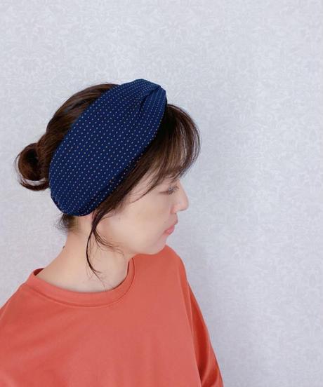 ブルーオニオンoriginalヘアターバン 刺し子風-2