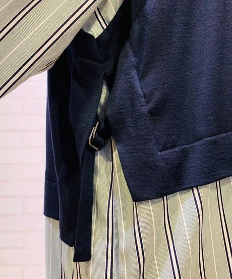 【お取り寄せ】シャツ地&カットソー ジレ重ね着風ロングワンピース
